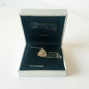 NIB Mothers Love Pendant Diamond Charm Necklace